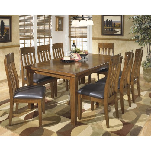 Signature Design by Ashley Ralene Casual 9 Piece Dining Set with Butterfly Extension Leaf