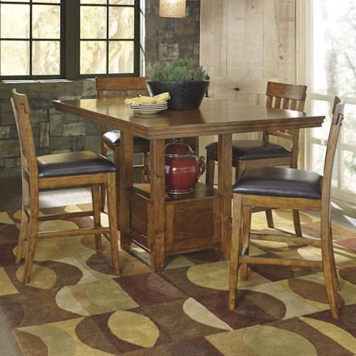 Signature Design by Ashley Ralene Casual Dining Table Set with 4 Bar Stools