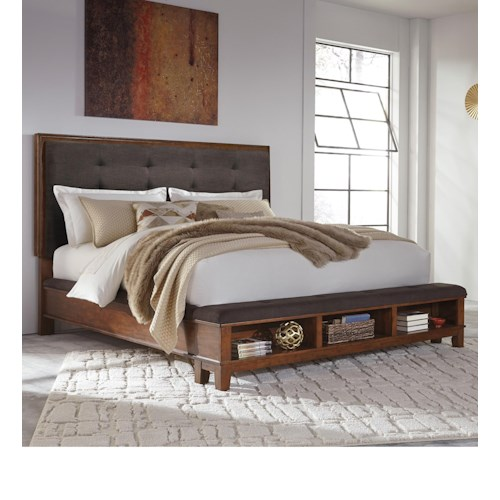 Signature Design by Ashley Ralene Queen Upholstered Bed with Bench Storage Footboard