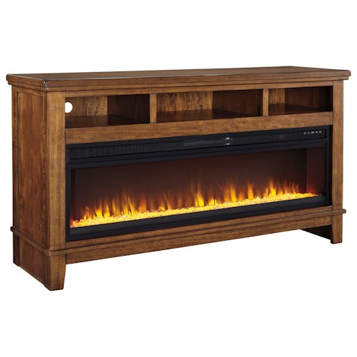 Signature Design by Ashley Ralene Contemporary Extra Large TV Stand w/ Wide Fireplace Insert