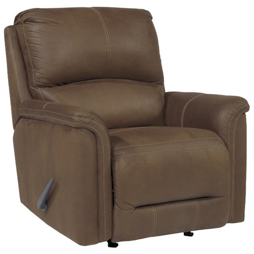 Signature Design by Ashley Ranika Contemporary Faux Leather Rocker Recliner