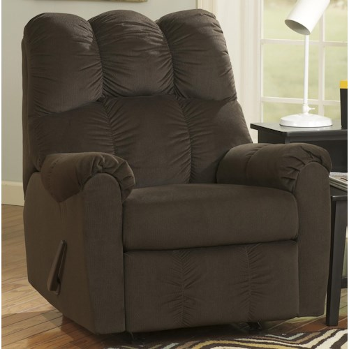 Signature Design by Ashley Raulo - Chocolate Rocker Recliner w/ Padded Arms
