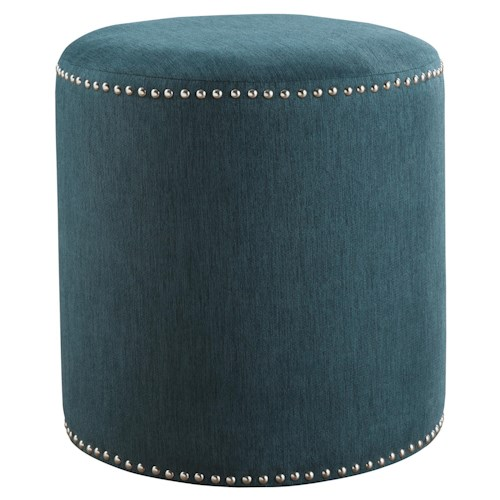Signature Design by Ashley Revel Contemporary Cylindrical Accent Ottoman with Nailhead Trim