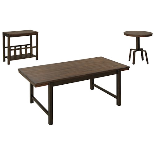 Signature Design by Ashley Riggerton Industrial Style Occasional Table Set with Metal Bases & Wood Tops