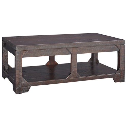 Signature Design by Ashley Rogness Rustic Lift Top Cocktail Table with Shelf