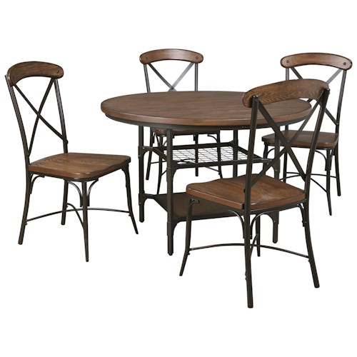 Signature Design by Ashley Rolena 5-Piece Bistro Style Metal/Wood Round Dining Room Table Set