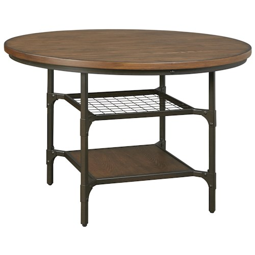 Signature Design by Ashley Rolena Industrial Metal/Wood Round Dining Room Table with 2 Shelves