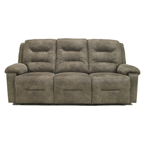 Signature Design by Ashley Rotation - Smoke Contemporary Reclining Sofa with Chaise Style Leg Rests and Pillow Arms
