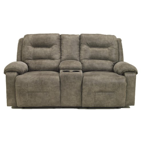 Signature Design by Ashley Rotation - Smoke Contemporary Manual Reclining Loveseat w/Console