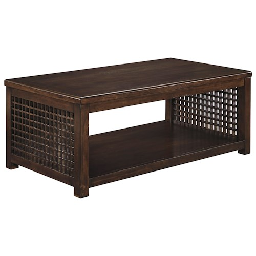 Signature Design by Ashley Roxenton Rectangular Cocktail Table with Grid Sides