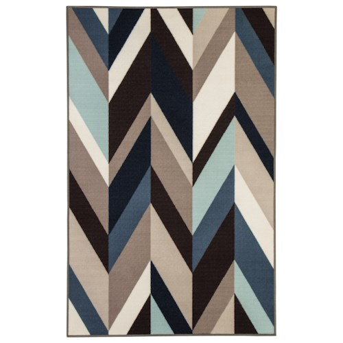 Signature Design by Ashley Contemporary Area Rugs Keelia Blue/Brown/Gray Rug