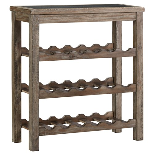 Signature Design by Ashley Furniture Vennilux Rustic Wine Rack with Cement Board Inset Top