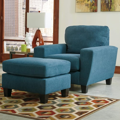 Signature Design by Ashley Sagen Contemporary Chair with Shaped Track Arms & Ottoman