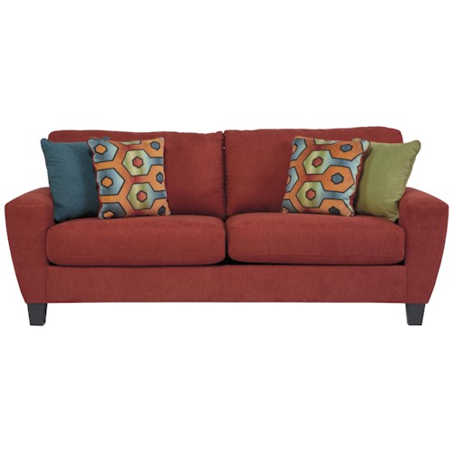 Signature Design by Ashley Sagen Contemporary Sofa with Shaped Track Arms