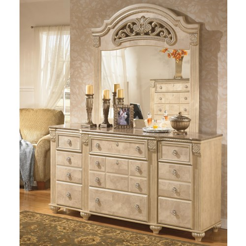 Signature Design by Ashley Saveaha Traditional 9-Drawer Dresser and Elegantly Ornate Framed Mirror Set