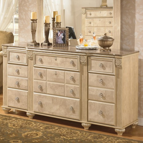 Signature Design by Ashley Saveaha 9-Drawer Dresser with Ornamental Break Front Case