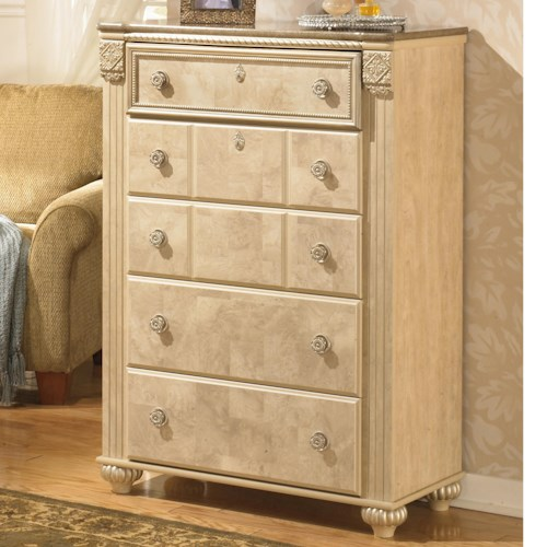 Signature Design by Ashley Saveaha Five Drawer Chest with Faux Marble Top