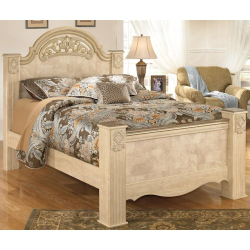 Signature Design by Ashley Saveaha King Poster Bed with Ornate Headboard & Footboard