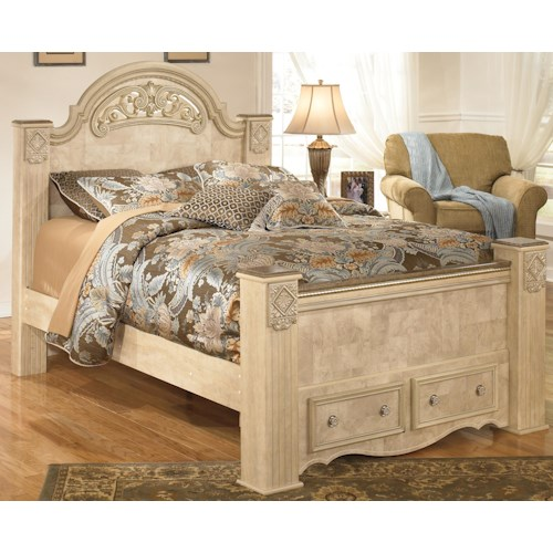 Signature Design by Ashley Saveaha Queen Poster Storage Bed with Two Drawers in Footboard