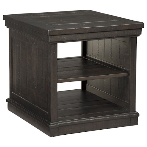Signature Design by Ashley Sharlowe Distressed Solid Pine Rectangular End Table with 2 Open Shelves