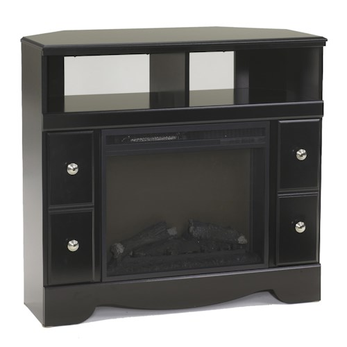 Signature Design by Ashley Shay Contemporary Corner TV Stand with Fireplace