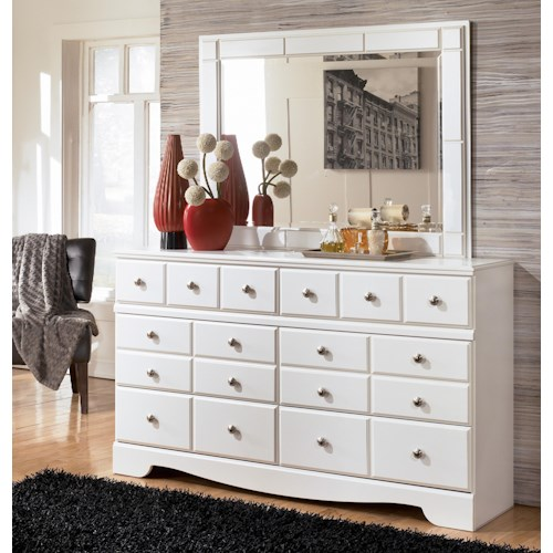 Signature Design by Ashley Weeki Contemporary 6 Drawer Dresser and Landscape Dresser Mirror Set