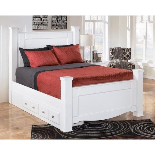 Signature Design by Ashley Weeki Queen Poster Bed with Underbed Storage
