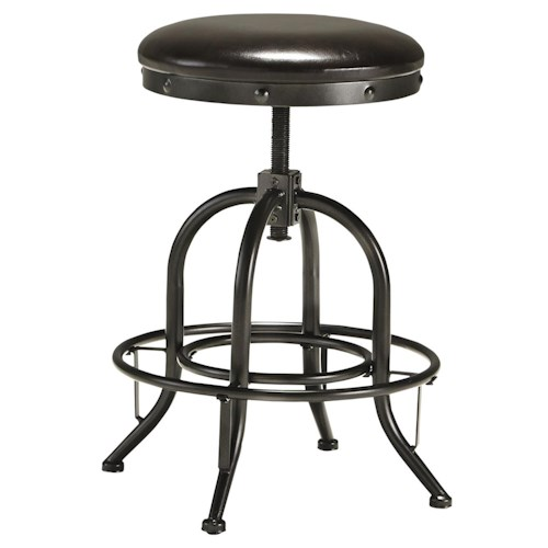 Signature Design by Ashley Shayneville Adjustable Height Swivel Stool with Upholstered Seat