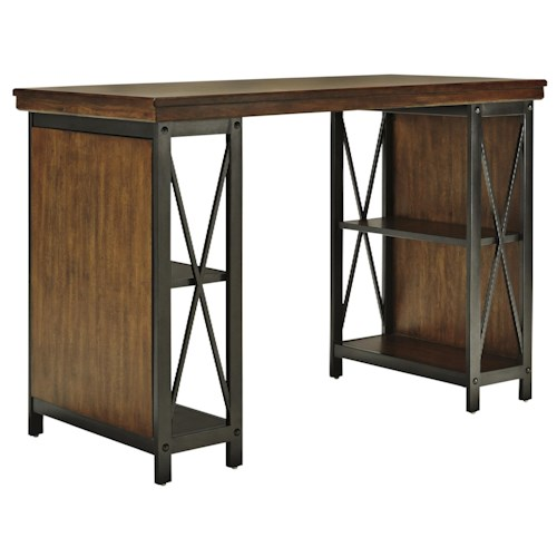 Signature Design by Ashley Shayneville Home Office Counter Large Desk with Metal Frame & Bookcase Storage