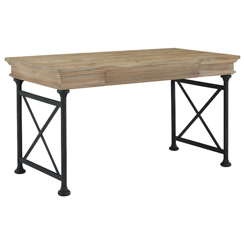 Signature Design by Ashley Shennifin Industrial Style Home Office Large Leg Desk with Distressed Pine Veneer Top