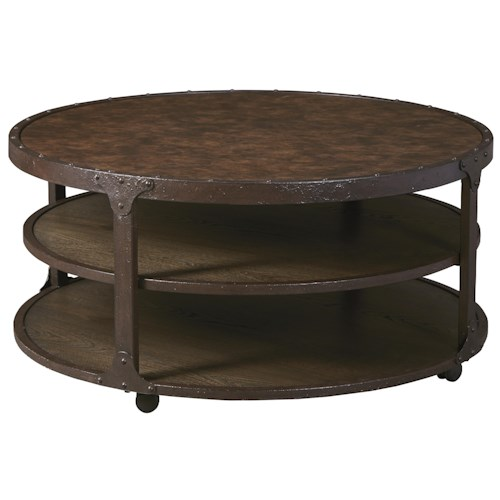 Signature Design by Ashley Shofern Industrial Style Metal Round Cocktail Table with Casters