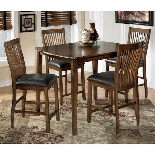 Signature Design by Ashley Stuman 5-Piece Rectangular Dining Room Counter Table Set