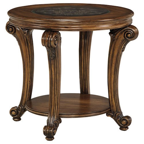 Signature Design by Ashley Sydmore Traditional Round End Table with Inset Glass Top