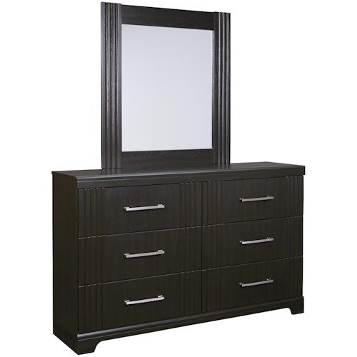 Signature Design by Ashley Tadlyn Contemporary 6-Drawer Dresser and Mirror