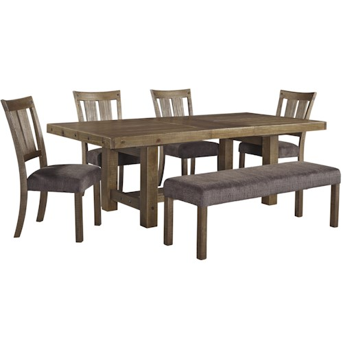 Signature Design by Ashley Tamilo 6 Piece Table & Chair Set with Bench
