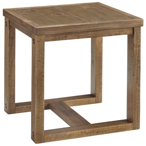 Signature Design by Ashley Tamilo Pine Square End Table with Recessed Bolt Heads