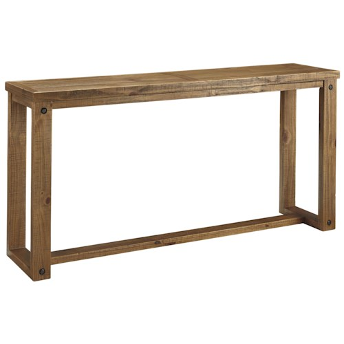 Signature Design by Ashley Tamilo Pine Sofa Table with Recessed Bolt Heads