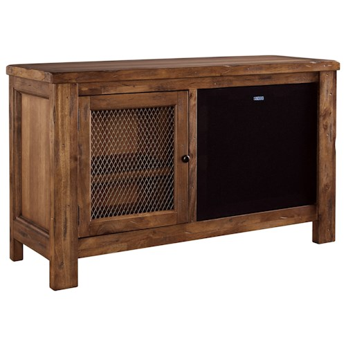 Signature Design by Ashley Tamonie Rustic Mango Veneer TV Stand with Bluetooth Speaker