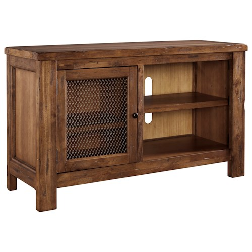 Signature Design by Ashley Tamonie Rustic Mango Veneer TV Stand with Wire Mesh Door