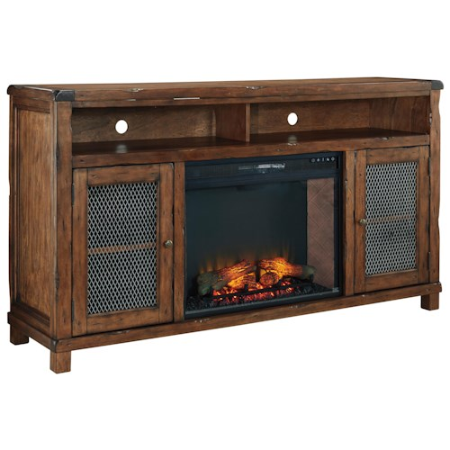 Signature Design by Ashley Tamonie Rustic Mango Veneer XL TV Stand with Electric Fireplace Insert & Wire Mesh Doors