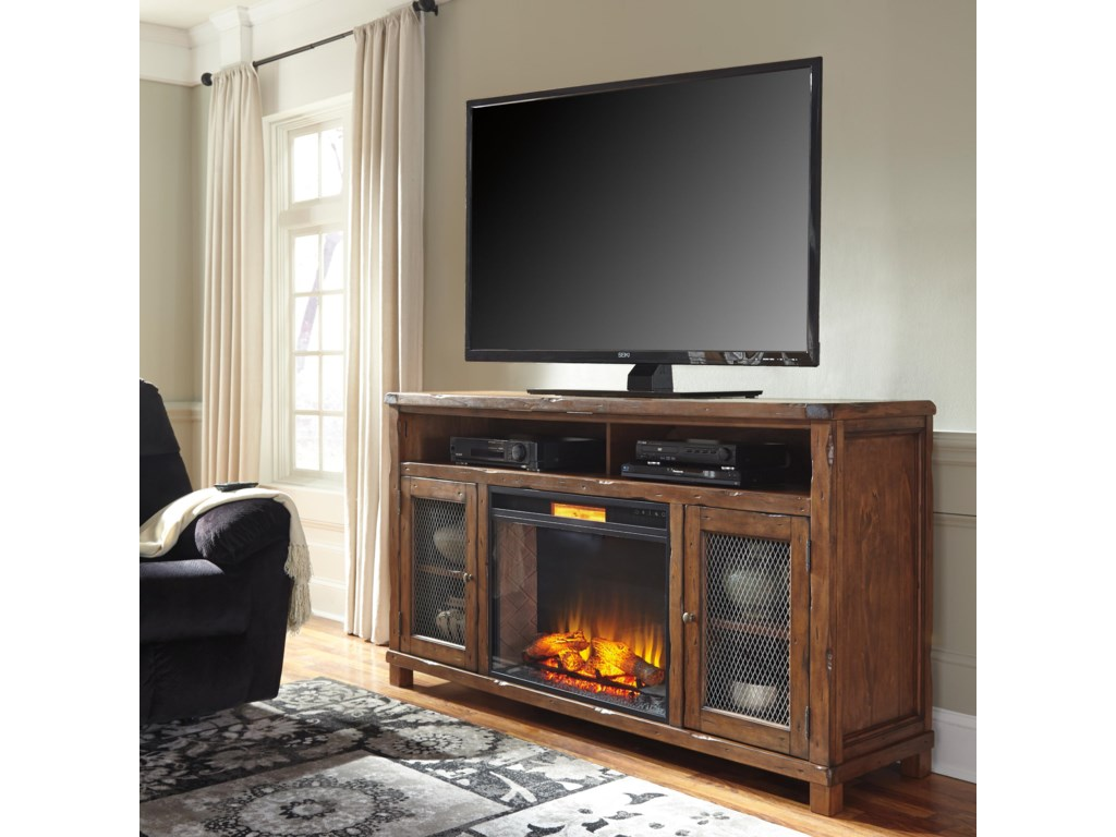 Signature Design by Ashley Tamonie Rustic Mango Veneer XL TV Stand with Electric  Fireplace Insert & Wire Mesh Doors - Del Sol Furniture - TV Stands - Signature Design By Ashley Tamonie Rustic Mango Veneer XL TV Stand