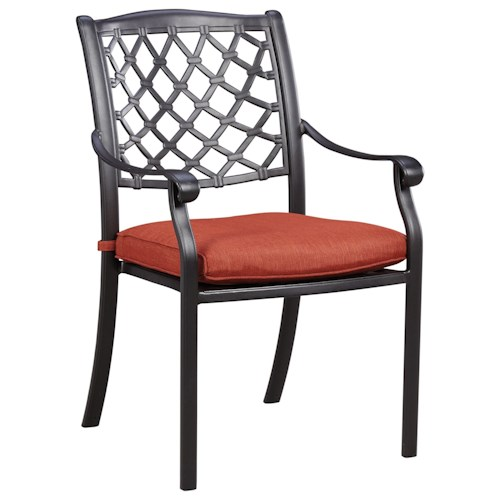 Signature Design by Ashley Tanglevale Set of 4 Outdoor Chairs with Cushion
