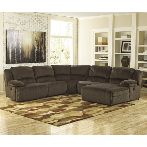 Signature Design by Ashley Toletta - Chocolate Reclining Sectional with Right Press Back Chaise