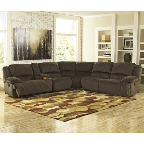 Signature Design by Ashley Toletta - Chocolate Reclining Sectional with Console