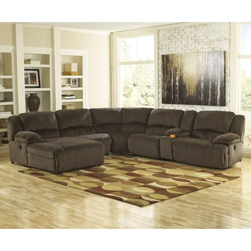Signature Design by Ashley Toletta - Chocolate Reclining Sectional with Console & Left Press Back Chaise