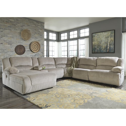 Signature Design by Ashley Toletta - Granite Reclining Sectional with Console & Left Press Back Chaise