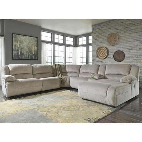 Signature Design by Ashley Toletta - Granite Power Reclining Sectional with Console & Right Press Back Chaise