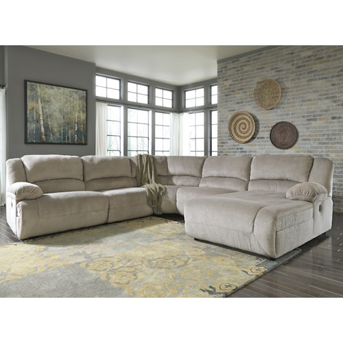 Signature Design by Ashley Toletta - Granite Power Reclining Sectional with Right Press Back Chaise