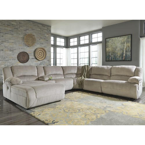 Signature Design by Ashley Toletta - Granite Power Reclining Sectional with Console & Left Press Back Chaise