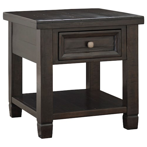 Signature Design by Ashley Townser Grayish Brown Rectangular End Table with Drawer & Shelf